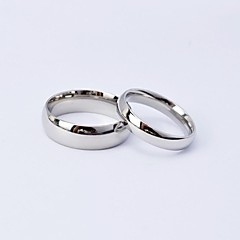 Simple Silver Polished Titanium Steel Couple Rings