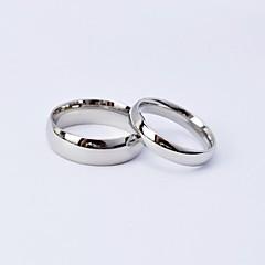 Anillos de plata simple de acero de titanio pulido Pareja