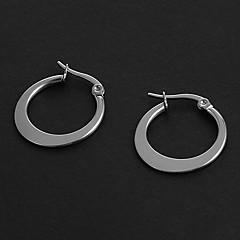 Fashion Simple 1.5CM Flat Shape Silver Stainless Steel Hoop Earrings (1 Pair)