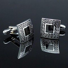 Classic Black and Silver Men's Square Cufflinks (1pair)