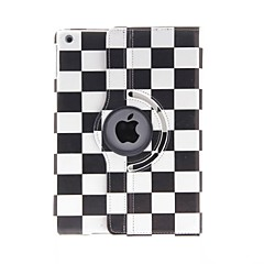Kinston 360 astetta kääntyvä Black And White neliöt Pattern PU Leather Full Body Case telineellä iPad Air