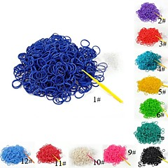 Eruner®(300 pcs/pack)Pure Color Loom Bands Style Rubber Band with 12pcs S Hook and
