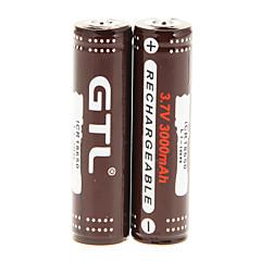 GTL ICR 3000mAh 18650 (2pcs) avec protection anti-surcharge + 2 PCs / Lot plastique dur Boîte de rangement batterie