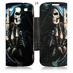 Cool Skulls Series Læder Full Body Taske til Samsung Galaxy S3 I9300 (assorteret farve)