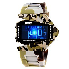 Men's Army Style Multi-Functional Colorful LED Camouflage Silicone Band Wrist Watch (Assorted Colors)