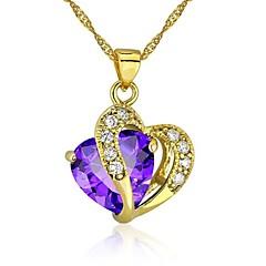 Damskie Dziewczęce Naszyjniki z wisiorkami Heart Shape Cyrkonia Pozłacane Miłość Serce Purple Czerwony Biżuteria Na Ślub Impreza Codzienny