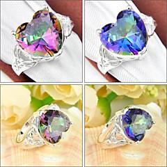 Heart Shaped Rainbow Mystic Topaz Gemstone Silver Ring 1PC