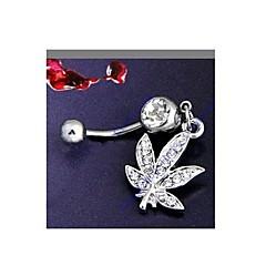 lureme®316l kirurgiskt titan stål kristall löv hängsmycke navelring