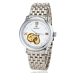 Women's Auto-Mechanical Hollow Heart Dial Silver Steel Band Wrist Watch (Assorted Colors)