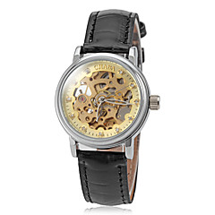 Women's Auto Mechanical Gold Skeleton Leather Band Wrist Watch (Assorted Colors)