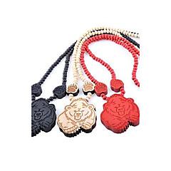 Bear Pattern Wood Necklace