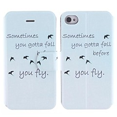 The Swallow and The Design of The English Alphabet PU Full Body Case with Card Slot for iPhone 4/4S