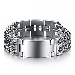 Exaggerated Classic Smooth Double Man Wide Thick Titanium Steel Bracelet Christmas Gifts