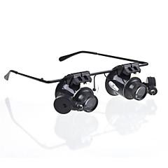 白色LEDライト付きメガネタイプ20X拡大鏡(4xCR1620)
