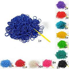 baoguang®는 (600 개 / 팩) 순수한 색 무지개 색 베틀 고무 밴드 (12PCS의 후크, 코바늘을 1PCS)