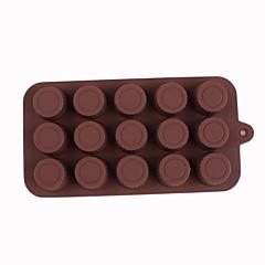 padrão de silicone 15 buracos cilindro molde chocolate, 20.5x10x2cm