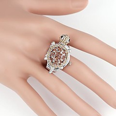 Мужская полный алмазов Черепаха-образный металлический аналога кварца кольцо смотреть (1Pc)