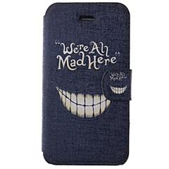 Cartoon verrückt Zähne Muster pu Ganzkörper-Fall mit Kartenslot für iPhone 4/4S