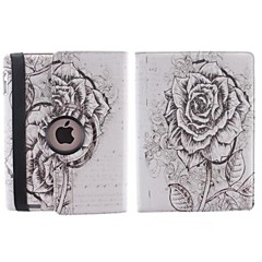 Sketch the Big Flower Patterns 360 Degree Rotating PU Leather Case with Stand for iPad 2/3/4