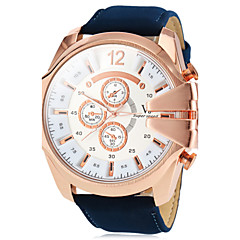 Men's Watch Military Style Rose Gold Case Leather Band