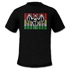 mens acender t-shirt equalizador de som e música ativado levou el máquina painel velcro partido lavável bar raver festival