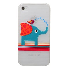 Elephant and Bird  Pattern PC Brushed Hard Case for iPhone4/4s