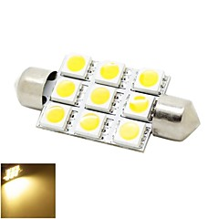 41mm 2W 9x5050 SMD LED 180lm Warm White Lights Festoon Dome Reading Map License Plate Light Bulb for Car (DC 12V)