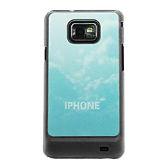 White Clouds  Leather Vein Pattern Hard Case for Samsung Galaxy S2 I9100