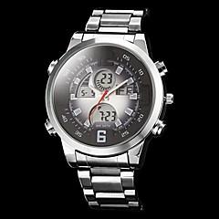 Herren-Piloten-Stil Multifunktions-Analog-Digital-Zifferblatt Stahl Band-Armbanduhr (farbig sortiert)