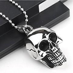 Men's Fashion Personality Skull Titanium Steel Black Drip Pendant Necklaces