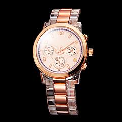 kvinnors guld urtavla plastband kvarts armbandsur
