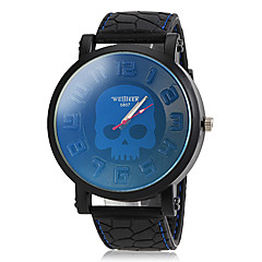 för män skallemönster ratten svart silikon band armbandsur (blandade färger)