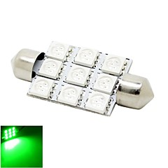 41mm 2W 9x5050 SMD LED 180lm Green Lights Festoon Dome Reading Map License Plate Light Bulb for Car (DC 12V)