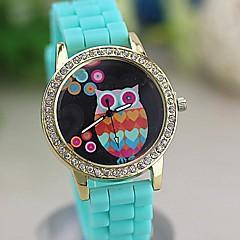 vrouwen kleurrijke retro uil diamant nummers siliconen band quartz horloge (verschillende kleuren)