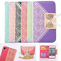 Lace Wallet Style PU Leather Full Body Case with Card Slot for iPhone 4/4S (Assorted Colors)