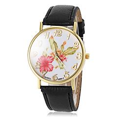 kvinnors blommönster ratten guld fallet pu-bandet kvarts armbandsur (blandade färger)