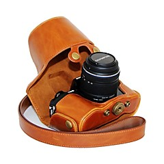Dengpin® Leather Protective Camera Case Bag Cover Oil Skin with Shoulder Strap for Olympus OM-D E-M10 with 14-42mm Lens
