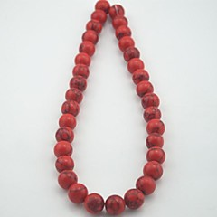 Toonykelly®Round Natural Red Turquoise DIY Beads 30Pc/Bag