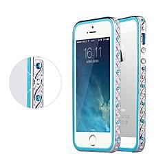 strass cristal luxo shengo ™ com prata proteção inserção TPU de metal no vidro traseiro para iPhone 5 / 5s (cores sortidas)
