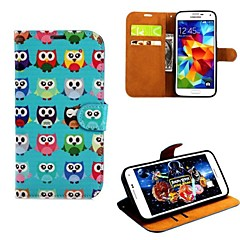 Many Lovely Owls Pattern PU Leather with Case and Card Slot for Samsung Galaxy S5 I9600