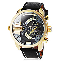 reloj de pulsera de cuarzo de banda zonas cuero hora dual estilo militar de los hombres