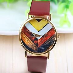 Weinlese der Frauen Blume Rose Gold Zifferblatt PU-Band Quarz-analoge Armbanduhr (farbig sortiert)