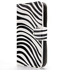 Zebra Stripes Pattern Wallet Style Magnetic Flip Stand PC+PU Leather Case for Alcatel One Touch Pop C5