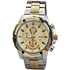 男子合金ラウンドダイヤルスチールバンドドレスカレンダー腕時計(アソートカラー)