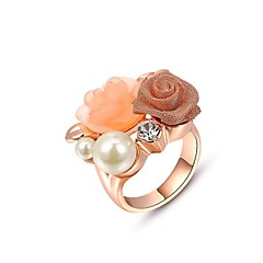 Fashion Pearl Ring 18K Rose/White Gold Plated Use Austria Crystal Pearl Flower Costume Jewellery Rings Joias Ouro 18k
