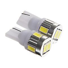 t10 3w 250LM 6000-6500k 6-SMD 5730 LED bianco targa dell'automobile della luce / lampada fredda lettura (DC12V 2pcs)
