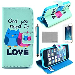 COCO FUN® Fall in Love Owl Pattern PU Leather Full Body Case with Film, Stand and Stylus for iPhone 5/5S