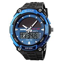 SKMEI Heren Sporthorloge Digitaal horloge Digitaal Zonne-Energie Dubbele tijdzones Zonne-Energie Rubber Band Wit Zwart Rood Blauw Gouden