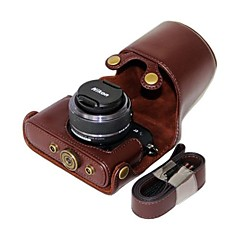 Dengpin® Leather Detachable Protective Camera Case Bag Cover Sheep Pattern for Nikon J3 with 10-30mm Lens
