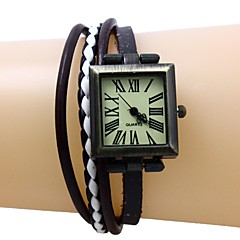vrouwen rechthoek Dial lederen band quartz horloge armband (assorti kleuren)